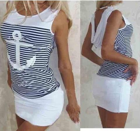 Купить Белое платье в морском стиле с якорем в Магазине тельняшек