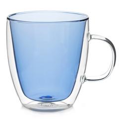 """Кружка с двойными стенками """"Sidney"""" 380 мл цветная, синее стекло"""