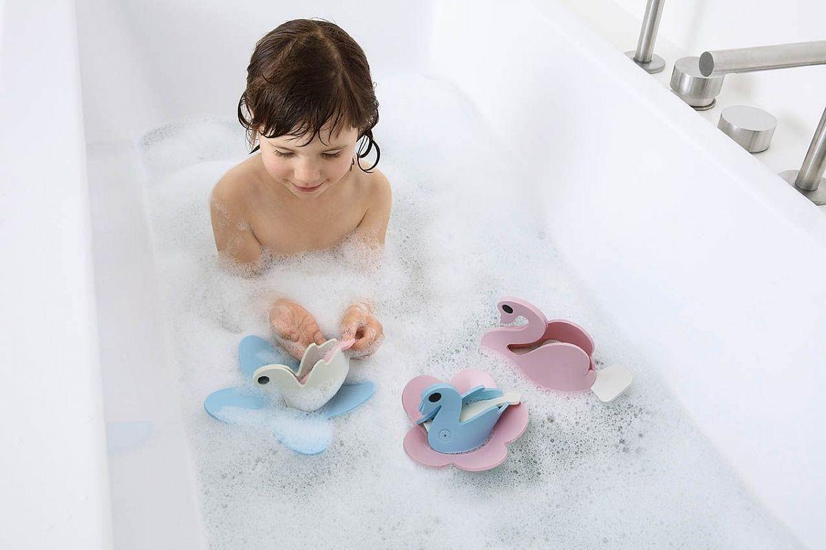 Мягкий 3D конструктор для игры в ванне Quutopia (9 эл). Лебединое озеро (Swan Lake).