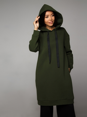 Платье-худи хаки с начесом YOS