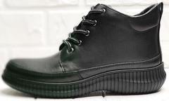 Кожаные ботинки кеды черные женские Evromoda 535-2010 S.A. Black.