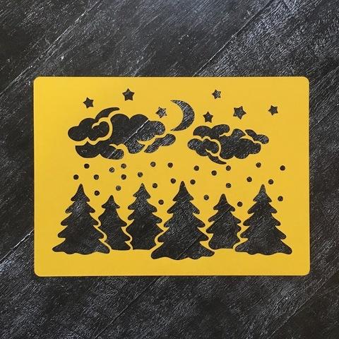 Трафарет новогодний №42 Лес ночью