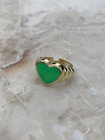 Кольцо Лавли из позолоченного серебра с зеленой эмалью