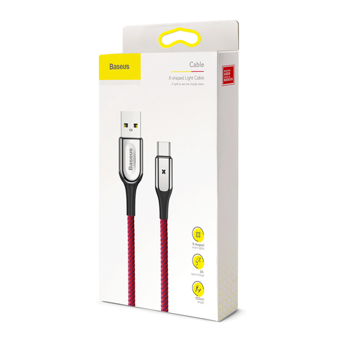 Кабель Baseus X-type Light Cable For Type-C 3A 1M Red