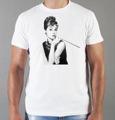 Футболка с принтом Одри Хепбёрн (Audrey Hepburn) белая 009