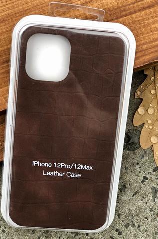 Чехол iPhone 12 Pro /6,1''/ Leather crocodile case /brown/