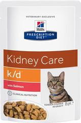 Пауч для кошек Hill`s Prescription Diet k/d, при заболеваниях почек, с лососем