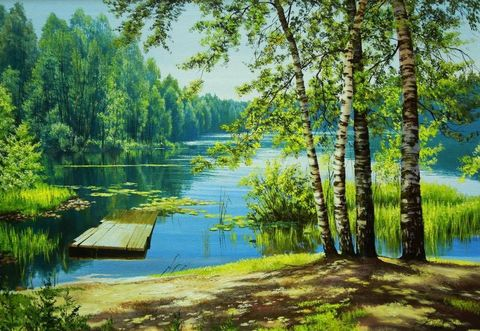 Картина раскраска по номерам 40x50 Река в лесу