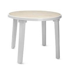 Пластиковый стол круглый с рисунком белый