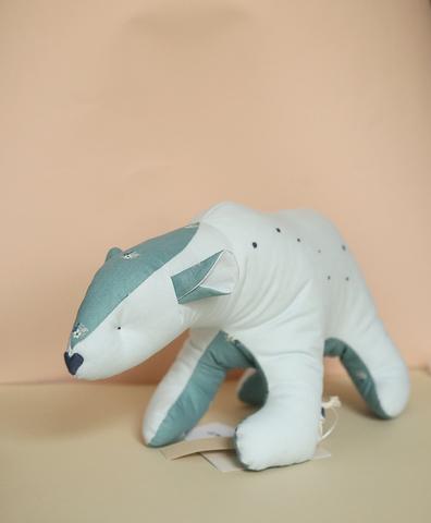 Полярный мишка голубой , бирюзовая ткань с цветочками