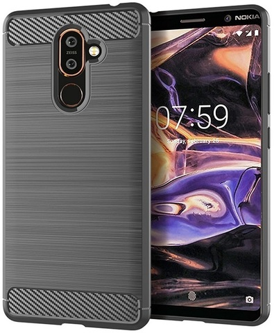 Чехол Nokia 7 Plus цвет Gray (серый), серия Carbon, Caseport