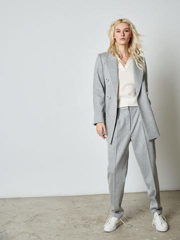 Жакет классического кроя из шерсти и ангоры светло-серый
