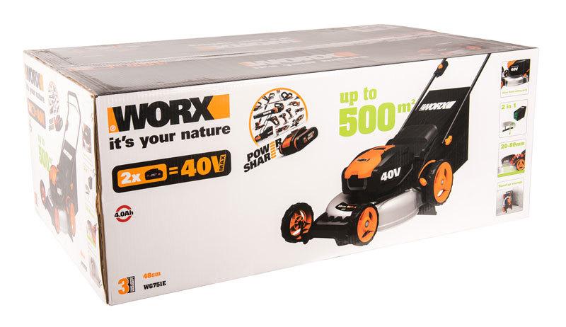 Газонокосилка аккумуляторная WORX WG751E, 40В, 48 см, 2*4,0 Ач, двойное ЗУ 2x2A