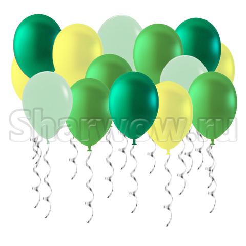 летнее ассорти шаров в зеленых и желтых оттенках