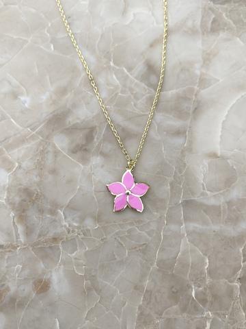 Колье Карамбола из серебра с розовой эмалью