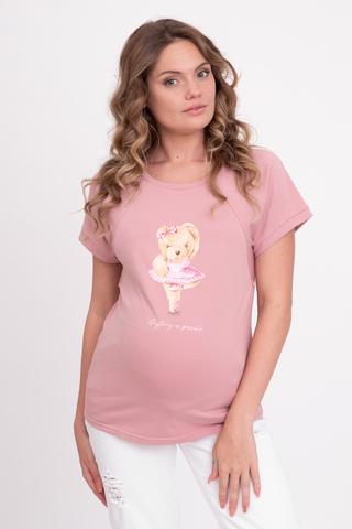 Футболка для беременных и кормящих 10757 розовая пудра