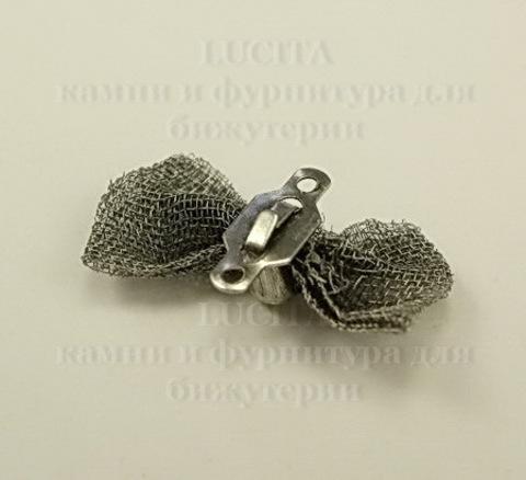"Коннектор ""Бантик"" (1-1) 18х9 мм (цвет - античное серебро)"
