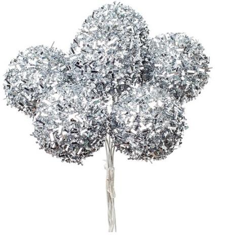 Набор шариков на вставках 6шт., размер: D3xH14см, цвет: серебряный