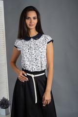 Віта. Класична блуза з круглим коміром. Білі ведмедики