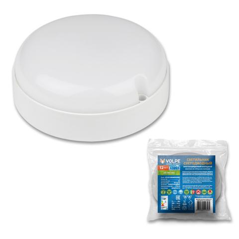 ULW-Q223 12W/6500К IP65 WHITE Светильник светодиодный влагозащищенный. Круг. Дневной свет (6500K).  Диаметр 135 мм. Корпус белый. ТМ Volpe.