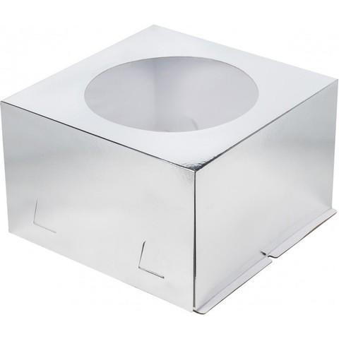 Коробка для торта с окном, 26*26*18см (серебро)