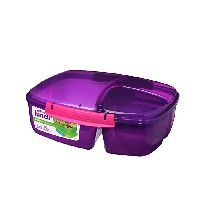 """Ланч-бокс с баночкой Sistema """"Lunch"""": 3 секции, 2 л, цвет Фиолетовый"""