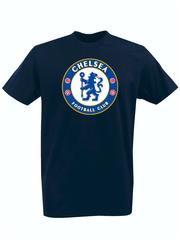 Футболка с принтом FC Chelsea (ФК Челси) темно-синяя 002
