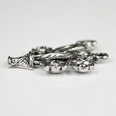 """Подвеска  """"Цветы"""" (цвет - античное серебро) 28х23 мм"""