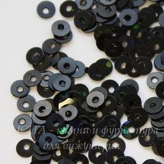 Пайетки черные с голограммой, 3 мм, 10 грамм