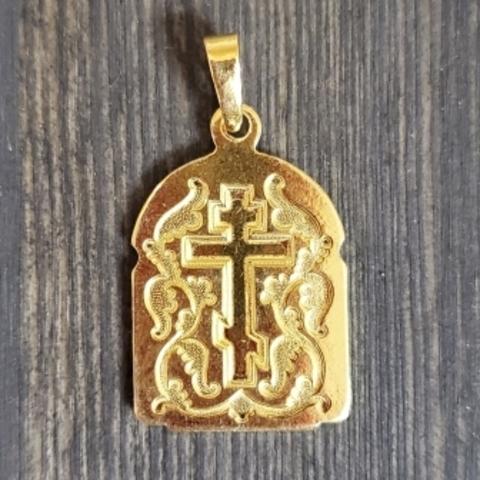 Нательная именная икона святой Аркадий с позолотой медальон на шею
