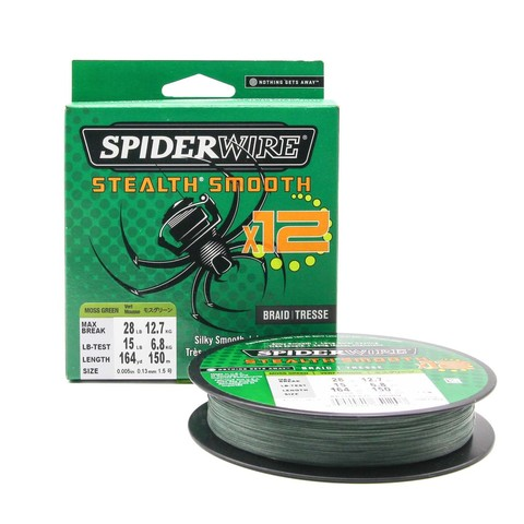 Плетеная леска Spiderwire Stealth Smooth 12 Braid Темно-зеленая 150м 0,13мм 12,7кг