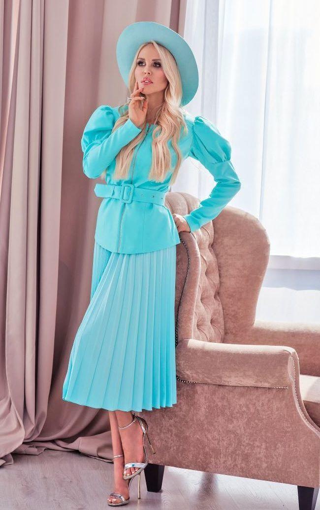 Юбка бирюзово-лазурного цвета