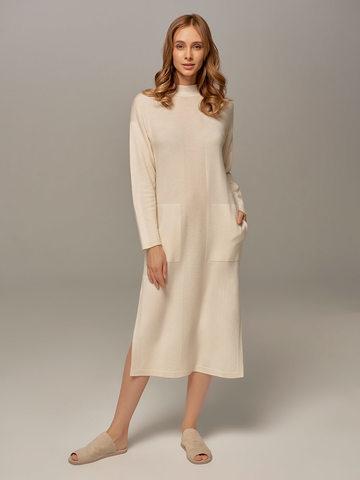 Женское платье молочного цвета из шерсти и кашемира - фото 1