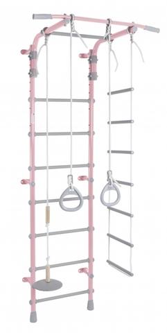 ДСК Pastel 2 цв.розовый-серый (регулируемый турник. веревочная лестница, тарзанка, кольца)