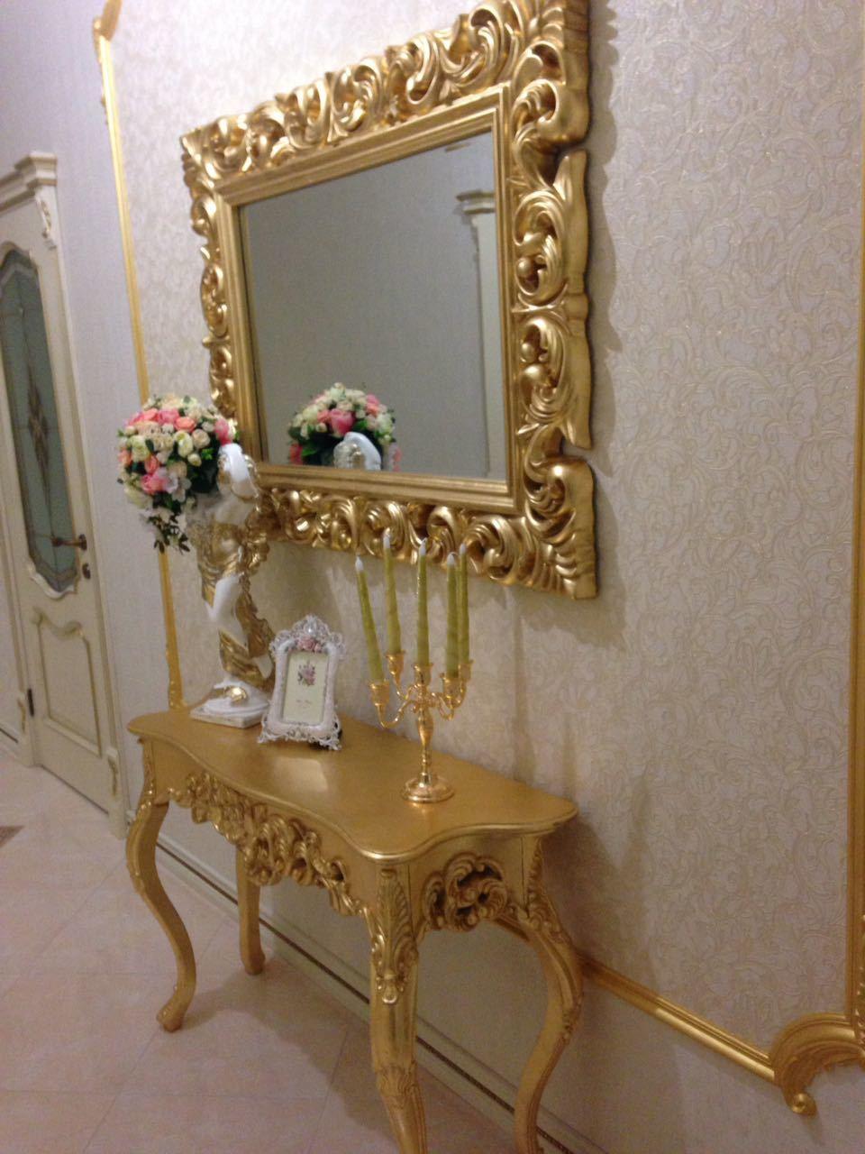Консоль DUPEN К58 золото, Зеркало DUPEN PU049 золото (90*120)