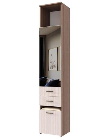 Шкаф-пенал с пуфом ИТАЛИЯ П1Я-400  ясень шимо темный / ясень шимо светлый