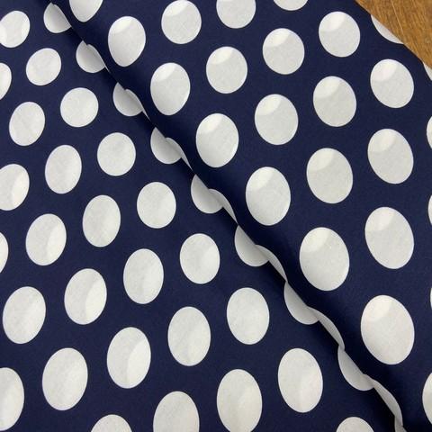 Ткань хлопок с эластаном темно-синий крупный горох 2170