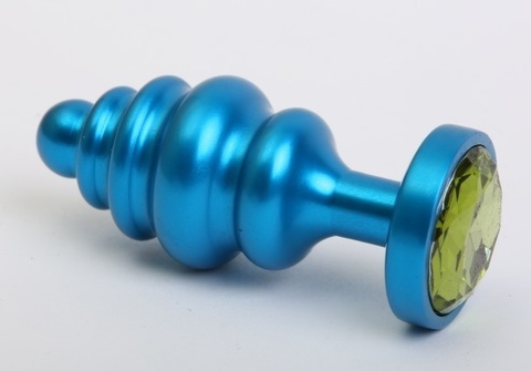 Пробка фигурная металл 7,3х2,9см синяя с зеленым стразом 47428-6MM