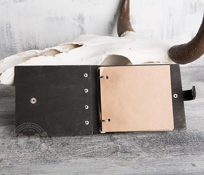 BC127-1 Деревянный блокнот с крафт блоком, ручная работа фото 05