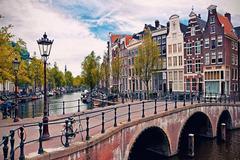 Картина раскраска по номерам 40x50 Мост над рекой в городе