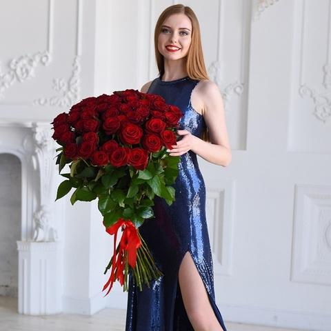 Букет 51 красная роза  Red Naomi 70см