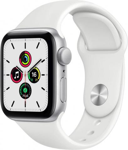 Умные часы Apple Watch SE, 40 мм, корпус из алюминия серебристого цвета, спортивный ремешок