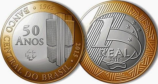 2015. 1 реал. 50 лет Центральному банку Бразилии. Биметалл. UNC.