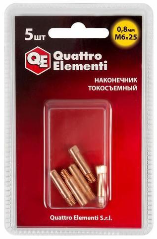 Наконечник токосъемный QUATTRO ELEMENTI M6x25   0.8 мм (5 шт) в блистере, для горелки полу (771-220)
