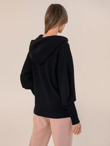Женский джемпер на молнии черного цвета из шерсти и кашемира - фото 4