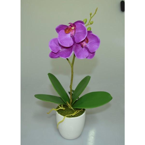 Искусственное растение в горшке, орхидея трехглавая.