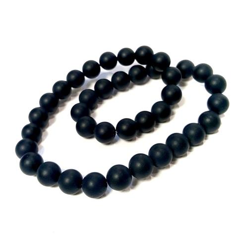 Бусины агат черный матовый шар гладкий 10 мм