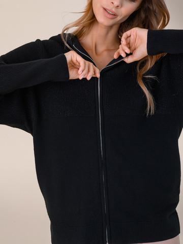 Женский джемпер на молнии черного цвета из шерсти и кашемира - фото 3