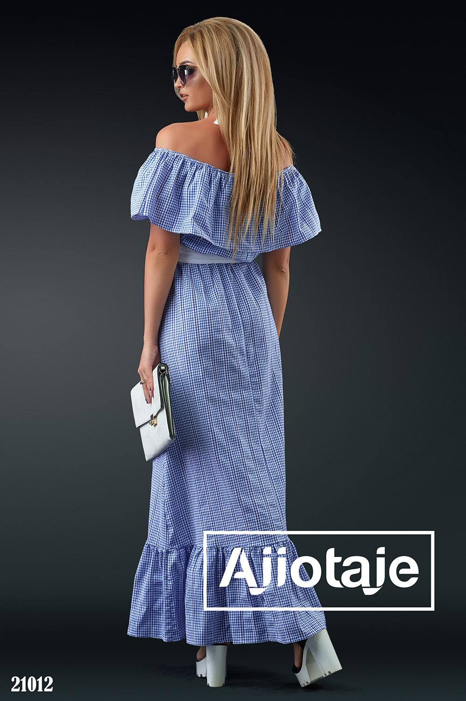 Платье макси в синюю клетку с белым пояском