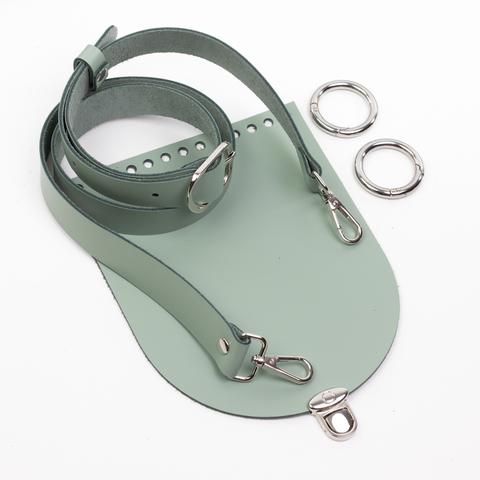 """Комплект для сумочки Орео """"Фисташка"""" с ручкой через плечо и замочком круг микро"""